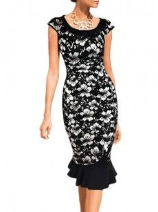Floral Printed Vintage Deluxe Round Neck Bodycon-dress