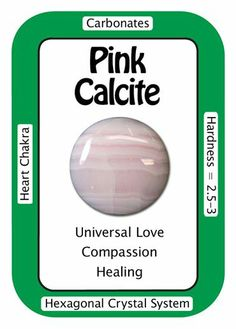 """Crystal Card of the Day: Pink Calcite. """"I approach life with love and compassion."""" Mangano Calcite a.k.a. Pink Calcite is a stone of peace & well-being. Pink Calcite can help healers and counselors forge a strong, energetic bond with a patient, allowing the healing vibrations to travel to the right location on the client. Pink Calcite can be very calming when held in the hand during meditation or energy work."""