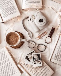 Lately I've gotten this panicky feeling lodged in my throat that life is passing me by. I think it's because the big number is coming up… Cozy Aesthetic, Brown Aesthetic, Flat Lay Photography, Book Photography, Bujo, Book Flatlay, Flatlay Styling, Coffee And Books, Tumblr