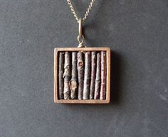 Real Twig Necklace in Genuine Wooden Square Bezel by aptoArt, $31.00