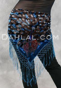 Dahlal Internationale Store - Burnout Velvet Peacock Shawl, with Crocheted Fringe, for Belly Dance, $24.95 (http://www.dahlal.com/burnout-velvet-peacock-shawl-with-crocheted-fringe-for-belly-dance/)