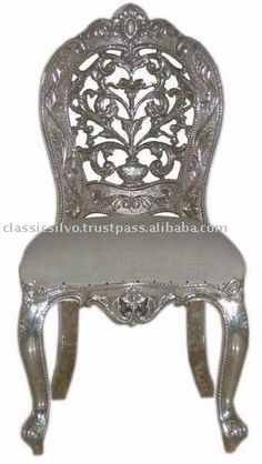 Dining chair second option Silver Furniture, Metal Furniture, Second Option, Armchair, Dining Chairs, Carving, Pearl, India, Room
