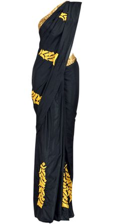 Black silk saree with gold embroidery and gota on pallu available only at Pernia's Pop-Up Shop.