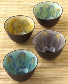 "Wheel thrown, ""watercolor"" like glazing, nice contrast shiny inner glazes with matt temmoku glaze"