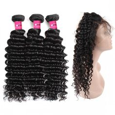 360 Lace Frontal Closure With and 2 or 3  Bundles 100% Virgin Indian Hair Deep Curly Wave Hair Bundles Sew In In With Frontal #360frontal #hairbundles