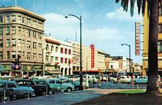 https://flic.kr/p/84N4K9 | Stockton 1950s POSTCARD | Downtown Stockton in the mid 1950s. This postcard view is taken from beside the old courthouse, looking East down Weber Ave. Also visible in this shot are a SMTD bus and the future site of RTD's Downtown Transit Center just beyond.