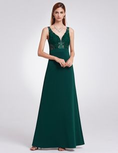 54dcf10d64abe Sleeveless Lace V Neck Evening Dress