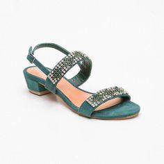 Sandalias de tacón, ante Verde aguamarina y plateado Tacón: 4 cm