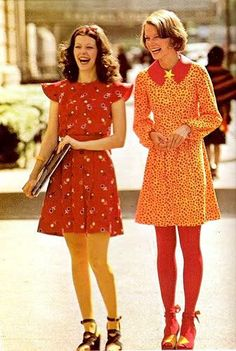 I love the tights and shoes combo on the right!  70s Vintage Fashion Inspiration