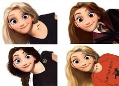 My favorite series! Rapunzel as Tris (Divergent) Hermione (Harry Potter) Katniss (Hunger Games) and Annabeth (Percy Jackson)