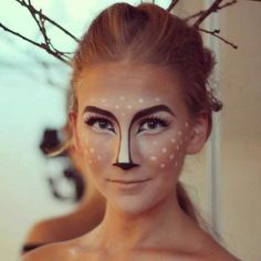 16 Deer Makeup And Antler Ideas For The Cutest Halloween Costume Deer Halloween Makeup, Deer Halloween Costumes, Deer Makeup, Halloween Looks, Ghost Makeup, Scary Halloween, Clown Makeup, Deer Costume Diy, Deer Costume Makeup