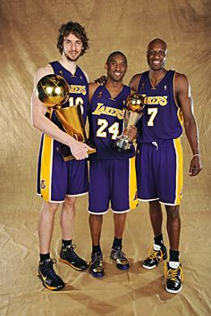 Lakers with their trophies