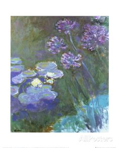 Water Lilies and Agapanthus Prints by Claude Monet at AllPosters.com