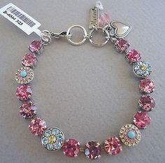 MARIANA STUNNING Handmade Pink & Blue Swarovski Crystal 323 Silvertone Bracelet