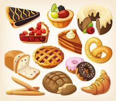 A collection of four beautiful vector food clip art sets with tasty dishes, pastries, chocolate sweets and ice-cream images. They can be used for nice food related logo designs (for cafe or restaurant menus), for vector posters or card templates,…