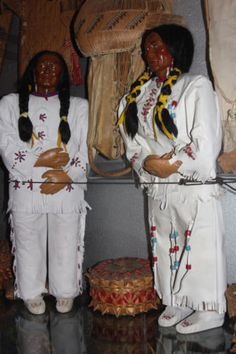 PAIR of SKOOKUM Indian DOLLS Dressed in Buck Skin Large Store Display 3ft Tall