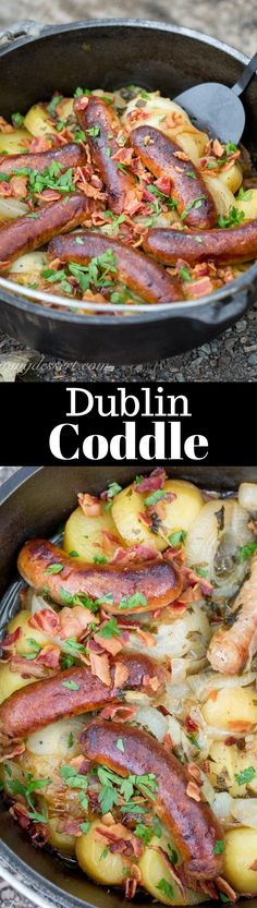 Dublin Coddle - a traditional Irish dish made with potatoes, sausage, and bacon then slow cooked in a delicious stew. Perfect Camping Food in a Lodge Camp Dutch Oven