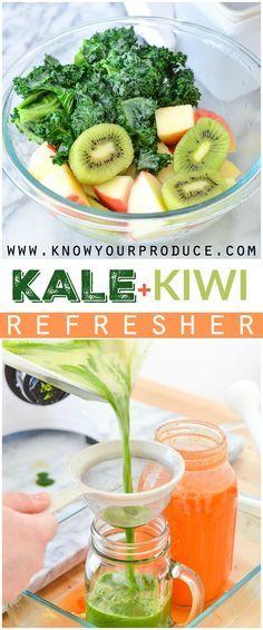 Healthy Juicer Recipes, Kale Juice Recipes, Kale Smoothie Recipes, Kiwi Recipes, Juice Cleanse Recipes, Easy Smoothies, Healthy Juices, Healthy Drinks, Cold Press Juice Recipes