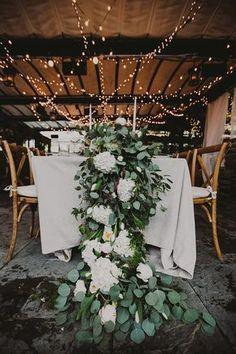 Elaborate Wedding Centerpiece Brushing the Floor | White Hydrangea + Eucalyptus | Urban Bohemian Wedding Decor | Tinsel + Twine Event Planners | Gallow Green | Brooklyn NYC Wedding Photographer