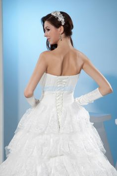 Lace Train Ball Gown Sweetheart White Wedding Dress With Fancy Cascading Ruffles