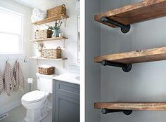 Staufläche mit Holzregalen in der Badezimmergestaltung