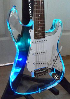 LED acrylic strat - Shared by The Lewis Hamilton Band - https://www.facebook.com/lewishamiltonband/app_2405167945 - www.lewishamiltonmusic.com  #RePin by AT Social Media Marketing - Pinterest Marketing Specialists ATSocialMedia.co.uk
