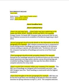 press release template | Writing | Pinterest