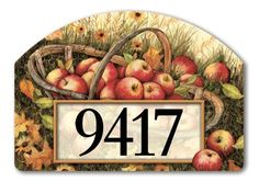 """Apple Picking Address Sign by Magnetworks. $15.99. Apple Picking magnetic address signs by Yard DeSigns at our every day low price. Address signs are screen-printed and vinyl coated for vivid long-lasting color and are reuseable. Our durable outdoor address signs include 2 sets of self-adhesive home address numbers. Magnetic address plaque measures 14"""" x 10"""". Buy direct from Flags On A Stick and save on your Apple Picking address sign today!"""