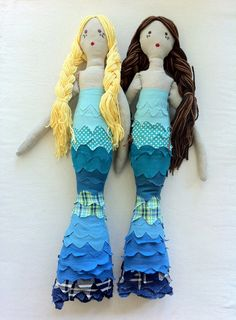 Custom Long Haired Mermaid Rag Doll. $85.00, via Etsy.
