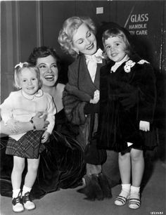 Zsa Zsa Gabor with Kathryn Grayson and their daughters on the set of 'Lovely To Look At', 1952, dir by Mervyn LeRoy.