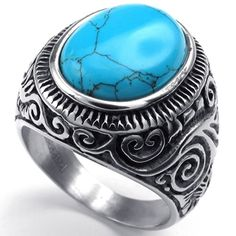 KONOV Jewelry Mens Stainless Steel Ring, Classic Vintage, Blue Silver, Size 10 KONOV Jewelry http://www.amazon.com/dp/B00KT8T2SO/ref=cm_sw_r_pi_dp_jg7cub1KXRM1R