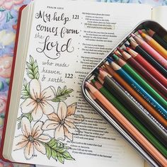 My help comes from the Lord, who made heaven on earth. Bible Study Journal, Scripture Study, Bible Art, Art Journaling, Bible Journaling For Beginners, Bible Drawing, Bible Doodling, Psalm 121, Bible Prayers
