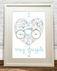 I Love My Bicycle Art Print by wyatt9dotcom on Etsy, £13.00