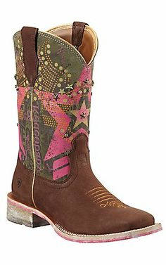 Ariat Rodeobaby Liberty Women's Sueded Chocolate w/ Pink Military Top Square Toe Cowboy Boot $149.99
