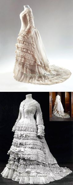 Afternoon dress ca. 1874–75. White linen batiste with silk machine lace and ivory bows. Top photo: Ernst Moritz. Centraal Museum & Europeana