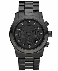 Xmas idea for Greg (hopefully find cheaper)  Michael Kors Watch, Men's Runway Black Ion Plated Stainless Steel Bracelet 45mm MK8157 - Watches - Jewelry & Watches - Macy's