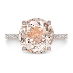 3.75 Ct. Round Cut Morganite & Diamond Engagement by AnyeJewelry