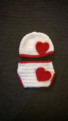 Valentine's Baby Hat & Diaper Cover
