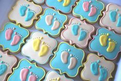 Baby Feet- Pitter Patter- Decorated Cookies - One Dozen Baby Feet Decorated Sugar Cookies - Perfect for Baby Showers Fancy Cookies, Iced Cookies, Cute Cookies, Royal Icing Cookies, Sugar Cookies, Baby Shower Desserts, Baby Shower Cookies, Cupcakes, Cupcake Cookies