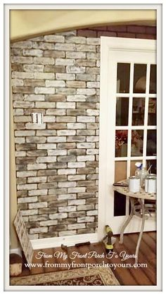 Step by step tutorial on how to transform a Lowes faux brick wall panel into a realistic brick wall using Annie Sloan Chalk Paint. Faux Brick Wall Panels, Brick Wall Paneling, Painted Brick Walls, Faux Walls, White Brick Walls, Faux Murs, Wall Design, House Design, Loft Design
