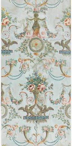 Vertical rectangle with arabesque or grotesque design. Printed on joined sheets of paper. Alternating motifs: two addorsed griffins upholding a flower bask...