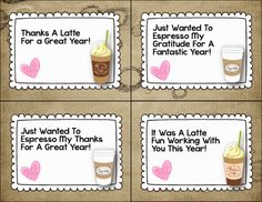 Cute tags for end of the year co-worker or parent gift cards to Starbucks-FREE