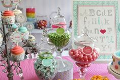 Use apothecary jars to display candy at the sweets table - gives such a polished look!