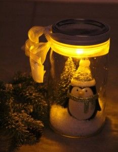 Illuminated Snow Scene in a Jar  SO cute for the kids to do with you, for Christmas.  Easy and inexpensive (Dollar Store Items!)