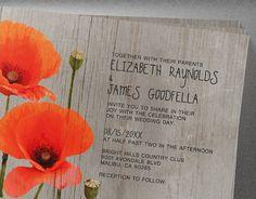 Rustic Poppy Wedding Invitations  Invites  by InvitationSnob
