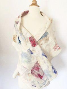 "Winter White Nuno Felted Merino Wool-Sari Silk ""Stole"" - One-of-a-Kind Wearable Art"
