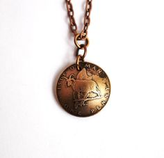 Domed Coin Necklace Pendant Isle of Man 1977 Sheep 1 by Hendywood