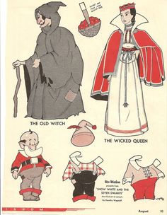 """""""Snow White and the Seven Dwarfs"""" from WEE WISDOM Magazine. It is from the 1930's. The artist is Dorothy Wagstaff."""