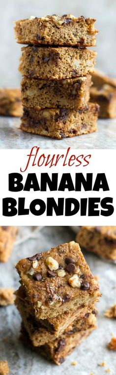 You won't find any flour, butter, or oil in these ridiculously soft and tender Flourless Banana Blondies! They're naturally gluten-free, and come out to less than 100 delicious calories per serving! | runningwithspoons.com #recipe #healthy #desserts