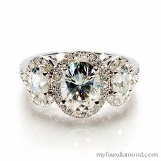 Moissanite-Three Stone Oval Cut Halo Engagement Ring-My Faux Diamond
